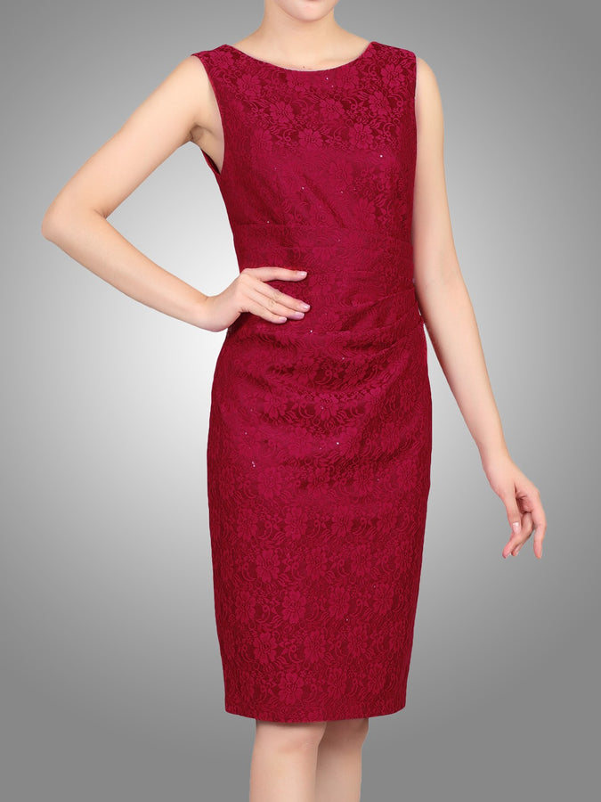 Jolie Moi Lace Bonded Sequin Shift Dress, Red