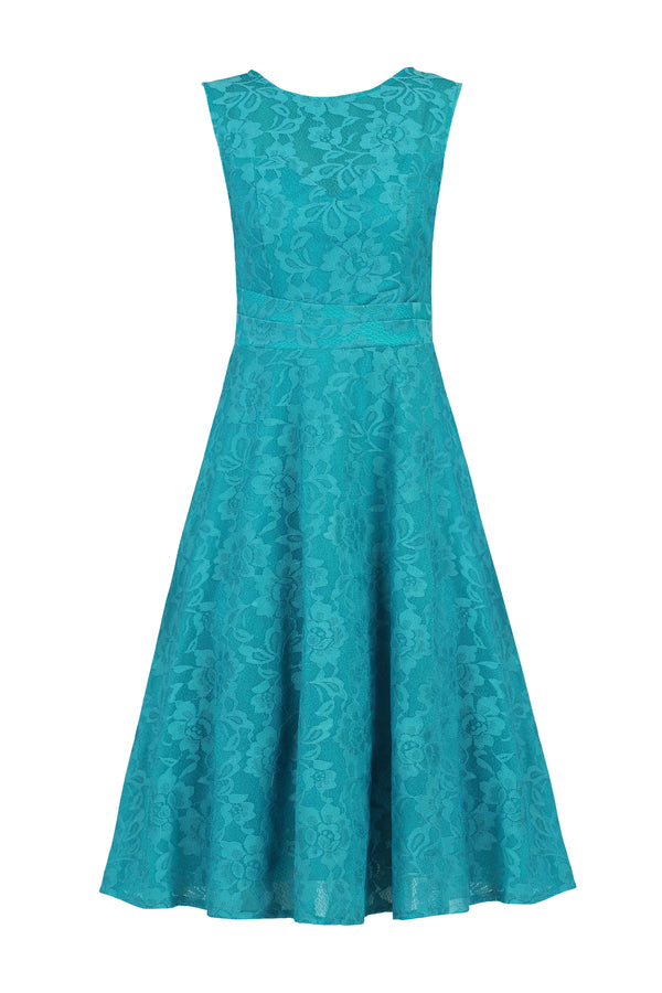 Lace Flare Dress, Teal