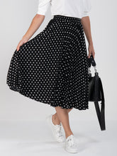 Load image into Gallery viewer, Spotty Pleated Midi Skirt, Black Dot