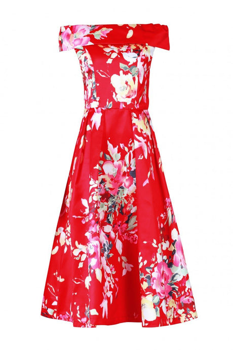 Jolie Moi Floral Bardot Neck Prom Dress, Red