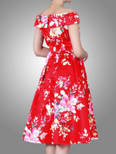 Load image into Gallery viewer, Jolie Moi Floral Bardot Neck Prom Dress, Red