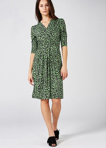 Jolie Moi Monica Leopard Printed Wrap Knee Length Dress, Green Multi