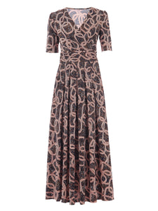 Half Sleeve Wrap Front Maxi Dress, Abstract Multi
