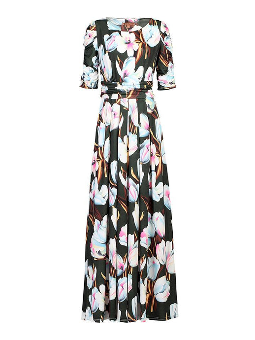 Half Sleeve Maxi Dress , Green Floral