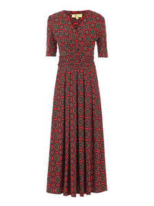 Wrap Front Jersey Maxi Dress, Red Pattern