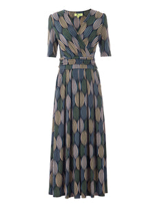 PRE-ORDER Wrap Front Jersey Maxi Dress, Green Geo