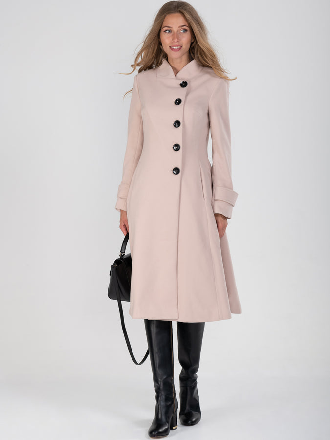 Button Front Flared Coat