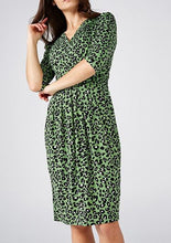Load image into Gallery viewer, Jolie Moi Monica Leopard Printed Wrap Knee Length Dress, Green Multi