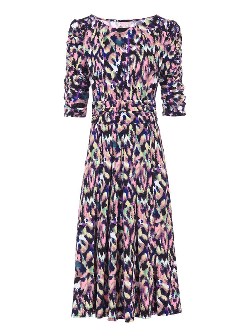 Print Half Sleeve Midi Dress