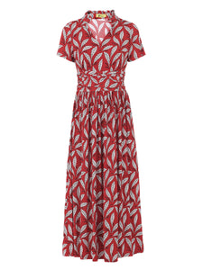 PRE-ORDER Stand Collar V Neck Maxi Dress, RED LEAFY