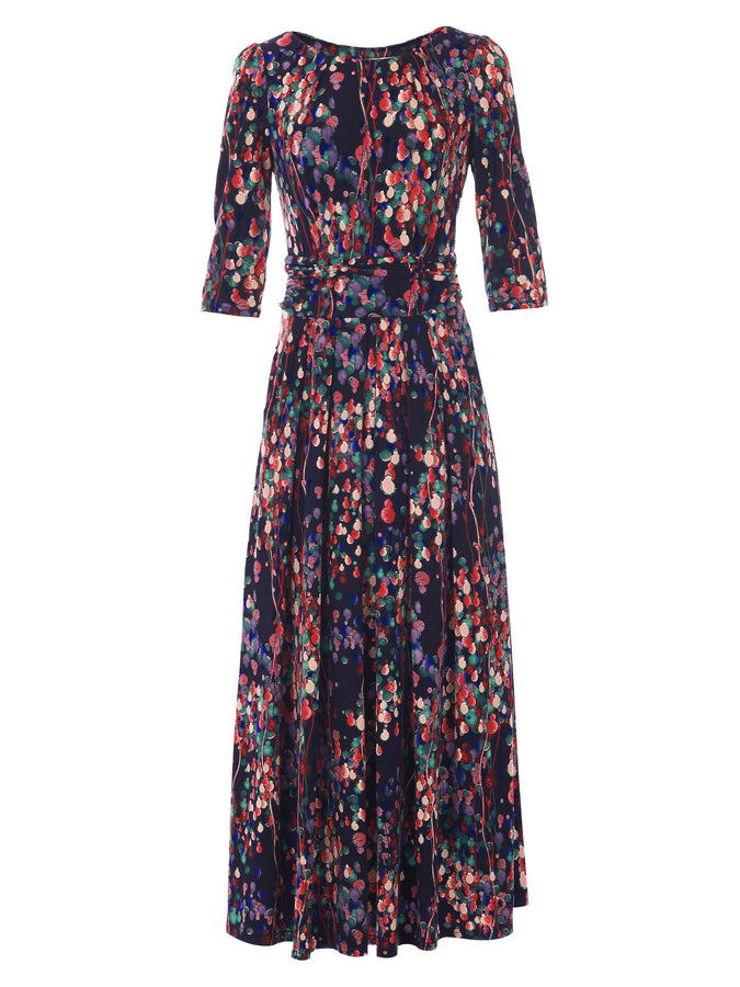 PRE-ORDER Abstract Floral Print Maxi Dress, Navy Multi