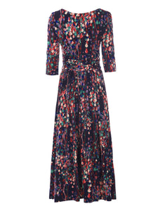 Abstract Floral Print Maxi Dress, Navy Multi