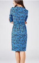 Load image into Gallery viewer, Leopard Printed Wrap Knee Length Dress, Blue Multi