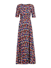 Load image into Gallery viewer, Jolie Moi Geometric Print Half Sleeve Maxi Dress, Black Multi
