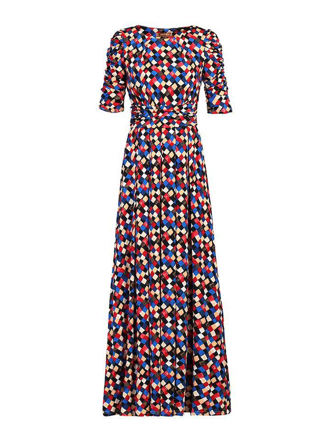 Jolie Moi Geometric Print Half Sleeve Maxi Dress, Black Multi