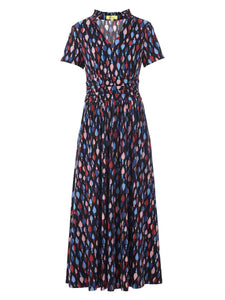 Stand Collar V Neck Maxi Dress