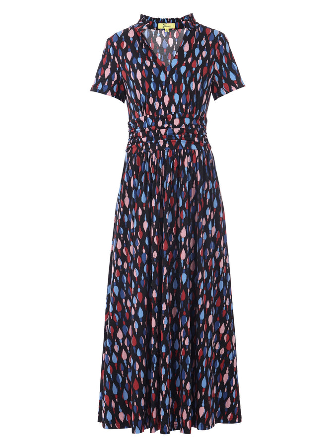 PRE-ORDER Stand Collar V Neck Maxi Dress, Navy Multi