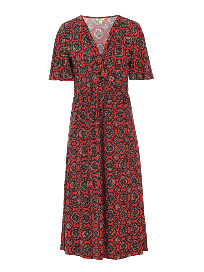 PRE-ORDER Twist Front Midi Jersey Dress, Red Pattern