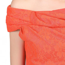 Load image into Gallery viewer, Jolie Moi Lace Bonded Bardot Neck Dress, Coral