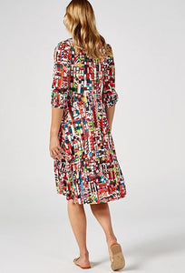 Jolie Moi Roll Collar Shift Dress, Multi