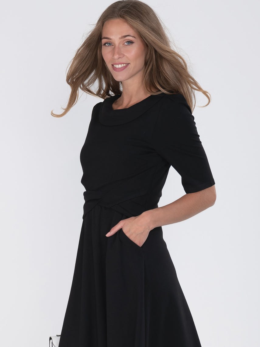 Fold Over Collar 50s Dress, Black