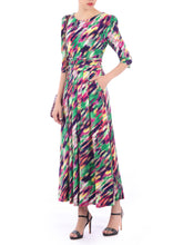 Load image into Gallery viewer, 3/4 Sleeved Boat Neck Maxi Dress, Green Multi