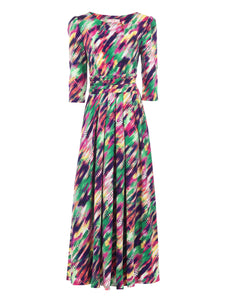3/4 Sleeved Boat Neck Maxi Dress, Green Multi