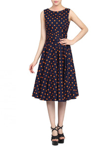 Jolie Moi Polka Dot 50s Wrap Belt Dress, Navy Polka Dot