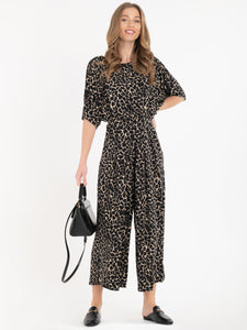 Jolie Moi Cleo Animal Print Jumpsuit, Brown/Multi