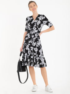 Jolie Moi Darby Abstract Print Wrap Front Midi Dress, Black Floral