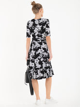 Load image into Gallery viewer, Jolie Moi Darby Abstract Print Wrap Front Midi Dress, Black Floral