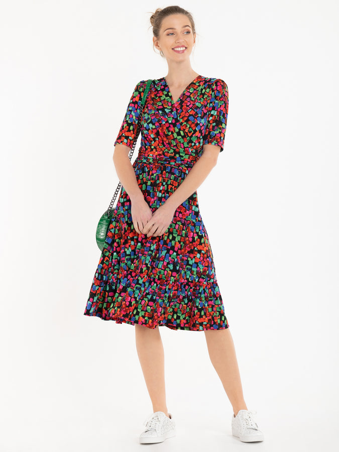 Jolie Moi Darby Abstract Print Wrap Front Midi Dress, Multi
