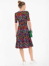 Load image into Gallery viewer, Jolie Moi Darby Abstract Print Wrap Front Midi Dress, Multi