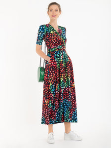 Jolie Moi Denise Maxi Dress, Navy/Multi