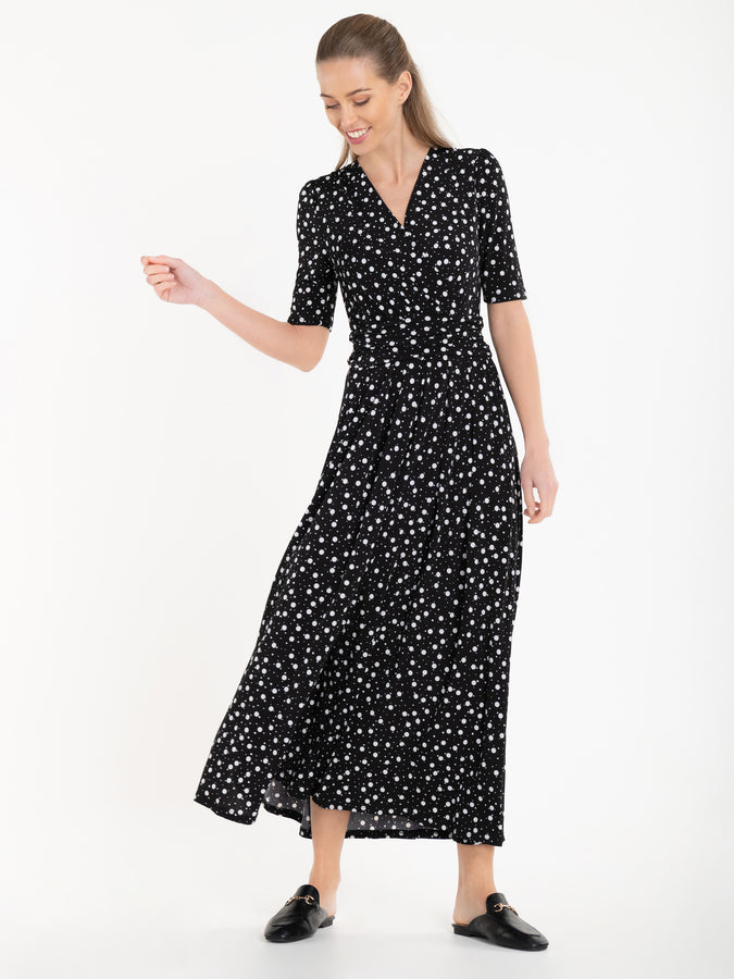 Jolie Moi Denise Ruched Waist Maxi Dress, Black Spot