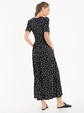 Load image into Gallery viewer, Jolie Moi Denise Ruched Waist Maxi Dress, Black Spot