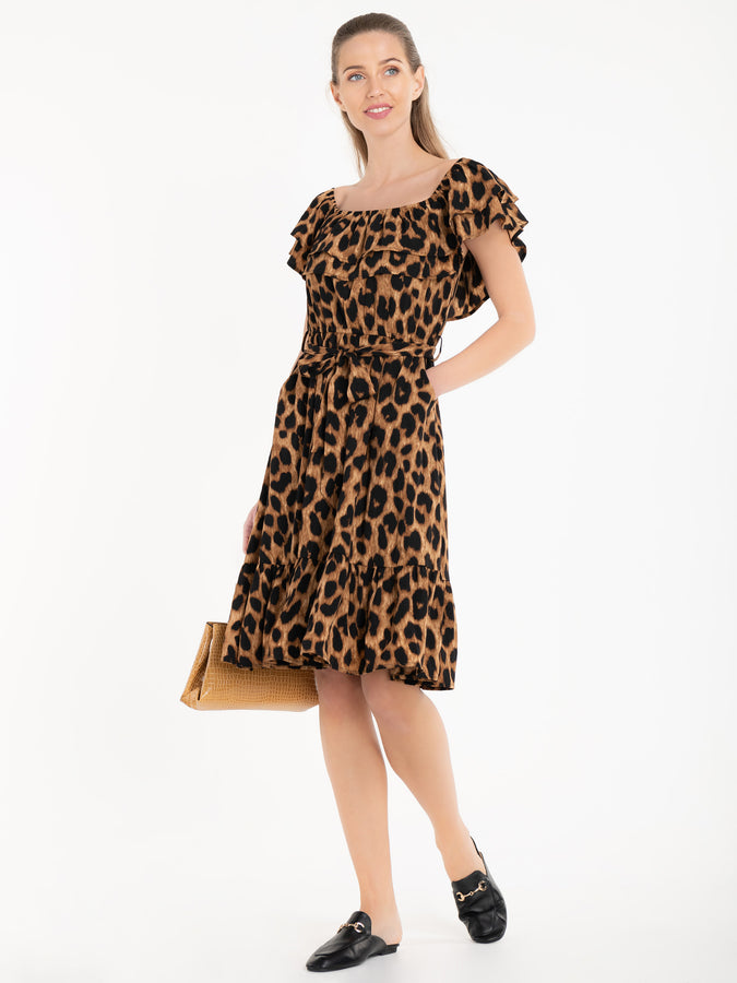 Jolie Moi Printed Ruffle Dress, Brown Animal