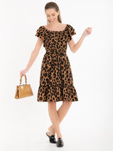 Load image into Gallery viewer, Jolie Moi Printed Ruffle Dress, Brown Animal