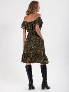 PRE ORDER Ruffle Off Shoulder Dress , Khaki Animal