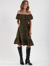 Load image into Gallery viewer, PRE ORDER Ruffle Off Shoulder Dress , Khaki Animal
