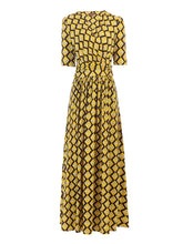 Load image into Gallery viewer, Jolie Moi Cross Front Maxi Dress, Yellow Geo