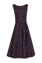 Load image into Gallery viewer, Jolie Moi Polka Dot 50s Wrap Belt Dress, Navy Polka Dot