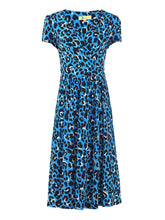 Load image into Gallery viewer, Wrap Front Jersey Dress, Blue Leopard Animal