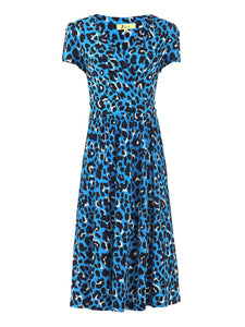 Wrap Front Jersey Dress, Blue Leopard Animal