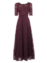 Load image into Gallery viewer, Elbow Sleeve Maxi Lace Bridesmaid Dress, Burgundy-Jolie Moi