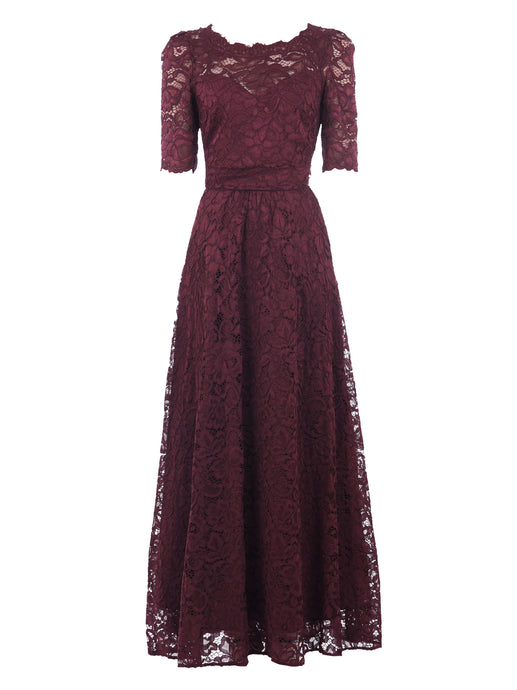 Elbow Sleeve Maxi Lace Bridesmaid Dress, Burgundy-Jolie Moi