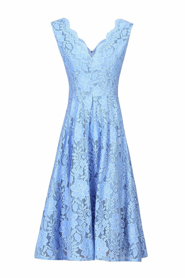 Jolie Moi Scalloped V Neck lace Dress, Blue