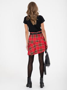 Checked Flounce Mini Skirt, Red Check