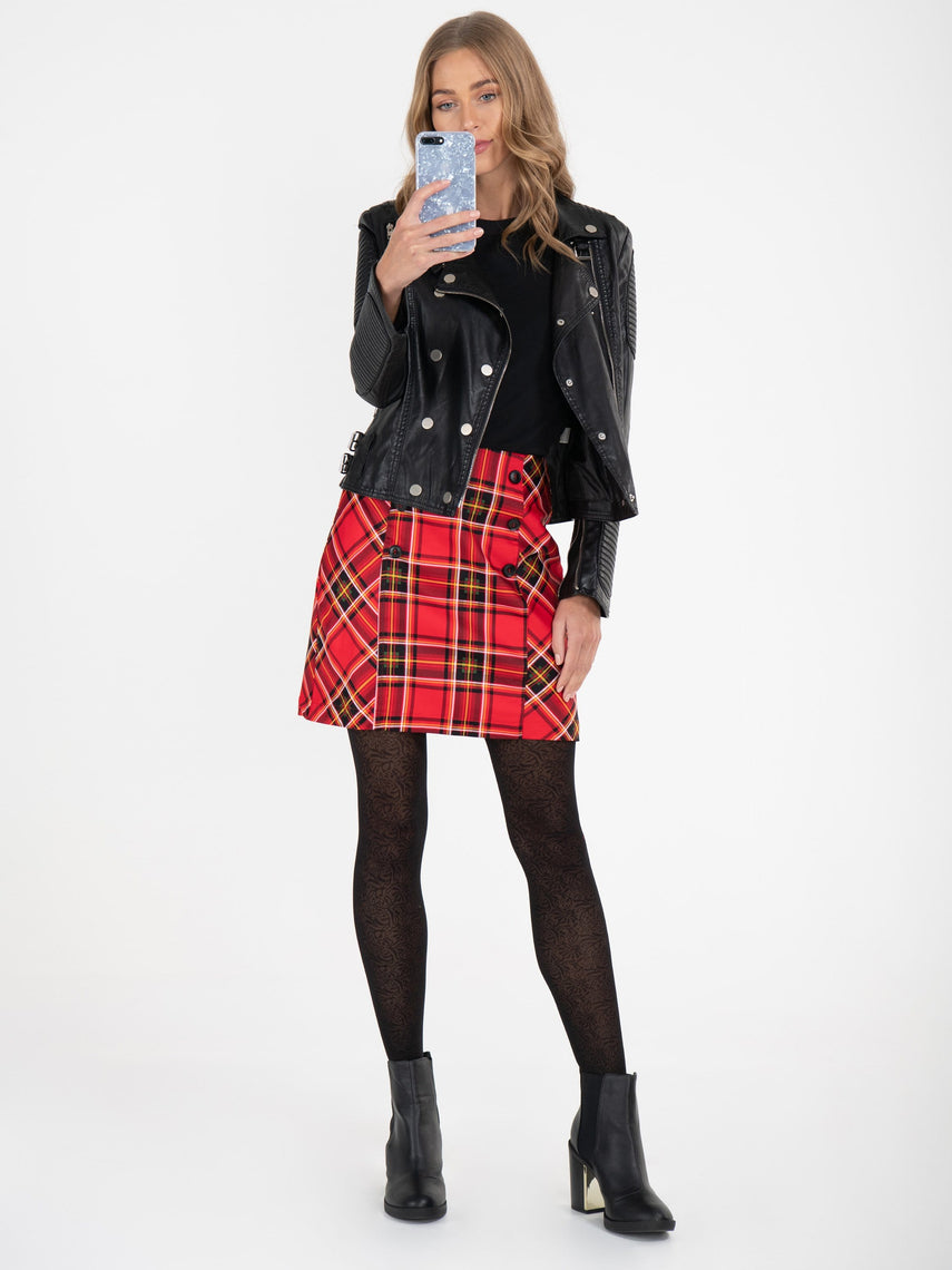 Checked Cotton Mini Skirt , Red Check