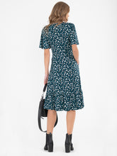 Load image into Gallery viewer, Jolie Moi Dixie Animal Print Twist Front Midi Dress, Green Animal